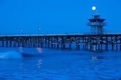 size: Photographic Print: Pier in the Pacific Ocean at night, San Clemente Pier, San Clemente, California, USA : San Clemente California, San Clemente Pier, Canvas Art Prints, Framed Canvas, Framed Prints, Ocean At Night, Panoramic Images, Night Aesthetic, The Masterpiece