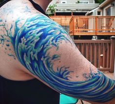 Men's Great Wave Tattoo Half Sleeve