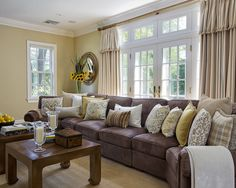 Family Room Brown Couch Design, Pictures, Remodel, Decor and Ideas - page 2 Dark Brown Couch, Brown Couch Living Room, Living Room Paint, Living Room Grey, Dark Sofa, Chocolate Brown Couch, Dark Grey, Living Rooms, Living Room Decor Brown Couch