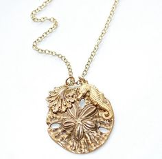 Sand Dollar Seahorse Neckalce Sea Shore brass gold by crushjewels, $27.00