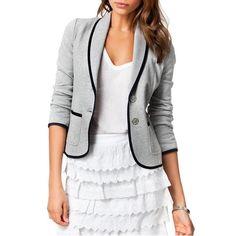 EAS Autumn Woman Gray Short Turn Down Collar Design Slim Coat Jacket Suits  Blazer Casual d54572cf1ef