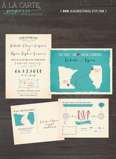 Two States, One Love, One Big Celebration - Wedding Invitation and RSVP Cards Design fee - USA state map invitation turquoise aqua blue by alacartepaperie on Etsy https://www.etsy.com/listing/180522928/two-states-one-love-one-big-celebration