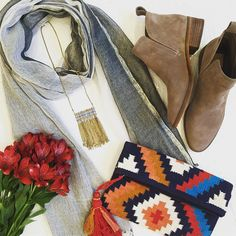 Feeling fallish today with all the season's best accessories. #tfssi #stsimonsisland #seaisland #fall2016 #accessories #boots #aztec #color #jewelry