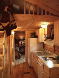 a bigger tiny house - the gastineau oak log cabins go on wheels 004 400 Sq. Oak Log Cabin on Wheels Tiny Cabins, Tiny House Cabin, Log Cabin Homes, Cabins And Cottages, Tiny House Living, Tiny House On Wheels, Rustic Cabins, Small Cabin Interiors, Little Cabin