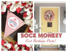 Awesome ideas for a sock monkey party... snacks and decor