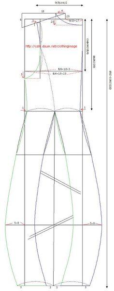 항아리 원피스 패턴입니다 - 참고하세요 , 올라간 패턴은 아래 사진에서 목이 위로 올라가 사진보다 목이 덜 파인 정도 입니다 . 길이는 사진은 무릎정도로 80~85 정도 (키 160 정도기준)면 아래 사진 정도의 길이가 나옵니다 . 패턴은 지역동아리의