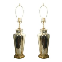 Pair of Column Form Mercury Glass Table Lamps with Brass Details | See more antique and modern Table Lamps at https://www.1stdibs.com/furniture/lighting/table-lamps