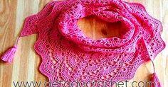 Hermosa Pashmina o Estola tejida a crochet