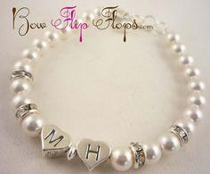 Flower Girl Bracelet with initials & Rhinestone por BridalFlipFlops