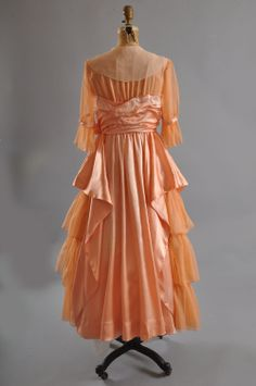 1910 Edwardian afternoon Gown - Silk Charmeuse / Chiffon [looks 1915 or 1916 to me]