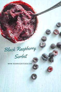 Black Raspberry Sorbet is a refreshing no-cook summer dessert, perfect alone or with a sponge cake. By Jennifer Perillo Black Raspberry Recipes, Raspberry Syrup Recipes, Raspberry Sorbet, Fruit Recipes, Sweet Recipes, Dessert Recipes, Summer Recipes, Ice Cream Desserts, Frozen Desserts