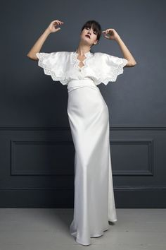 KIKI KIMONO TOP WORN OVER IRIS SLIP | WEDDING DRESS BY HALFPENNY LONDON