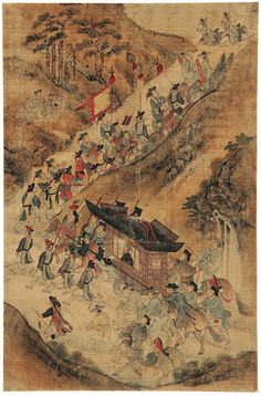 Highlights of an illustrious lifetime: Procession to new governmental post, by attrib. to Kim Hongdo (Korean, Korea, Joseon dynasty Ink and colours on silk. Korean Painting, Chinese Painting, Chinese Art, Korean Traditional, Traditional Art, Oriental, Asian Art Museum, Asian History, Korean Art