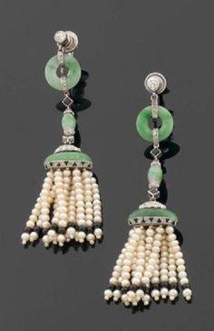 A pair of Art Deco platinum, pearl, jadeite, onyx and diamond ear pendants, by Cartier. Signed. #Cartier #ArtDeco #EarPendants