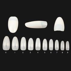 500pcs False Nails Oval French Tips - 10 Sizes
