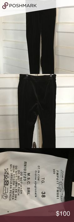 """ARMANI COLLEZIONI VELVET PANTS NEW WITHOUT TAGS AC BLACK VELVET TROUSERS, A STAPLE FOR EVERY WARDROBE. THEY MATCH VERY WELL WITH ALL MY POSTED """"PRINTED"""" ARMANI BLAZERS/JACKETS. Armani Collezioni Pants Straight Leg"""