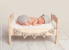 Baby photo shoot--Ikea bed with name banner