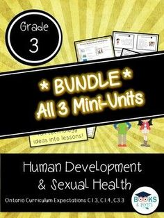 Human Development and Sexual Health - Grade 3 Hands On Activities, Learning Activities, Teaching Ideas, Ontario Curriculum, Health Unit, School Health, Human Development, Educational Videos, Grade 3