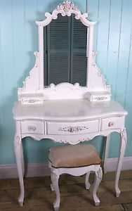 White Vintage Dressing Table French Boudoir Style with Vanity Mirror and stool