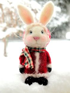 SANTA BUNNY - Winter Coat Bunny - Needle Felted Rabbit - ***Made To Order*** (Various coat colors available)