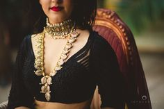 choker necklace , polki necklace , long raani haar, layered necklace , pearl necklace , ruby bracelet , , meenakari , red lipstick