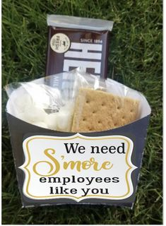 Employee staff office client appreciation Smores gift bag toppers company picnic favors boxes business marketing customer giveaways team is part of Employee appreciation gifts, Employee gifts, Cus - Employee Appreciation Gifts, Employee Gifts, Teacher Appreciation Week, Gifts For Employees, Corporate Branding, Corporate Gifts, Marketing Logo, Business Marketing, Marketing Office