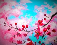 """""""Spring Tree""""  This is a popular painting for paint-a-long classes. This one here is from Painting & Vino.  We love it!  #CreativeSoulsArtLounge"""