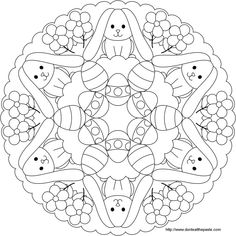 Great Easter or Ostara themed mandala for kids. Or grownups . Shala Kerrigan www.familyholiday… Make your world more colorful with free printable coloring pages from italks. Our free coloring pages for adults and kids. Free Easter Coloring Pages, Easter Bunny Colouring, Spring Coloring Pages, Mandala Coloring Pages, Coloring Book Pages, Coloring Pages For Kids, Egg Coloring, Coloring Sheets, Easter Art