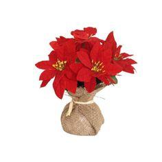 Flor de pascua en saco, esta maceta es ideal para decorar tu casa en navidad. No necesitas regarla y siempre estará igual de hermosa,   www.tatamba.com