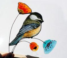 Chickadee stained glass bird