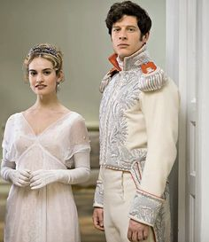 Lily James as Natasha Rostov & James Norton as Prince Andrei Bolkonski in ''War & Peace'' (2015) BBC miniseries