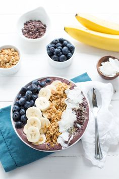 Blueberry Crunch Acai Bowl is a simple and healthy breakfast or snack! Blueberries, bananas, acai, almond milk and more are blended and then topped with crunchy granola and other toppings!