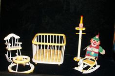 Vintage Dollhouse Yellow White Baby Furniture 6 Pieces Rocker Stand Playpen