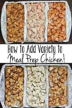 How to Add Variety to Meal Prep Chicken! Add variety to that boring meal prep chicken with these three delicious clean-eating marinades! Separate a cookie sheet into thirds using tinfoil and create three different flavors of chicken for your meal plans! Chicken Meal Prep, Healthy Chicken Meals, Chicken Flavors, Chicken Lunch Recipes, Recipe Chicken, Healthy Marinade For Chicken, Seasoning For Chicken, Crockpot Shredded Chicken, Weekly Meal Prep