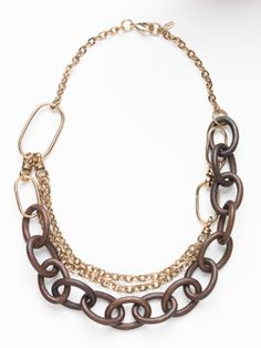 Dark Wood and Antiqued Gold Chain Necklace #Doncaster #ChainReaction