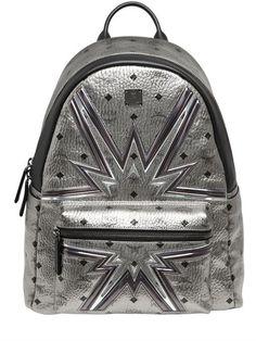 MCM Medium Stark Cyber Flash Backpack, Silver. #mcm #bags #leather #backpacks #lace #metallic #