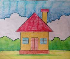 Drawing for kids easy scenery 23 Ideas Drawing Classes For Kids, Basic Drawing For Kids, Scenery Drawing For Kids, House Drawing For Kids, Easy Drawings For Kids, Kids Art Class, Painting For Kids, Art For Kids, Oil Pastel Drawings Easy