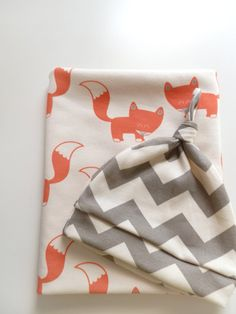 PRE ORDER Coral Foxes Organic Baby Blanket  by littlehipsqueaks, $44.80