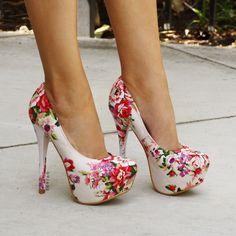 Rose Garden Print Platform Heels