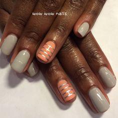 Nicole's nail design! #springcolors #lines #nailart #naildesign #nailporn #nailjunkie #nailgasm #nailsdid #fashion #shellac #wowwownails #toronto