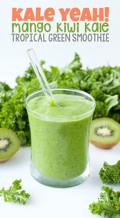 Shake up your smoothie routine with this gorgeous green smoothie. Boasting 2 cups of kale, this fruit and veggie smoothie is nutrient-packed and full of tasty tropical flavor!