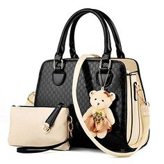 Lovely Women 2 Piece Tote Bag PU Leather Top Handle Handbag Purse Bags Set (black) ** You can get more details at