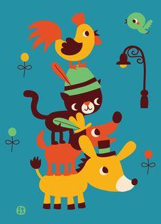 #Poster Bremer Stadsmuzikanten #kidsroom #babyroom  50x70 by Bora from www.kidsdinge.com https://www.facebook.com/pages/kidsdingecom-Origineel-speelgoed-hebbedingen-voor-hippe-kids/160122710686387?sk=wall