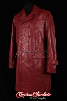MEN'S 'Long U Boat' Cherry RED German Kriegsmarine Cowhide Leather Jacket Coat | eBay
