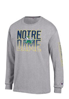 d3770823a Champion Notre Dame Fighting Irish Grey Name and Logo Long Sleeve T Shirt