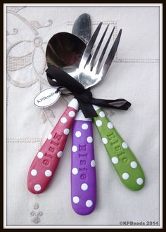 Girls polka dot cutlery set by KPBeads - Order your set today!