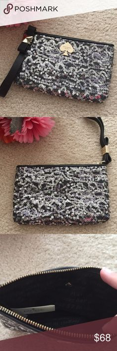 """Black Sequined Bow Wristlet Adorable new without tags Wristlet. Black with silver sequins. Leather trim, bow embellishment at zipper pull with pale gold hardware. Black lining. Height {4.5"""".} Width {6.5"""".} kate spade Bags Clutches & Wristlets"""