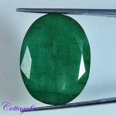 37.25Cts. NATURAL TOP GREEN EMERALD OVAL CUT GEMSTONE BRAZIL #UNBRANDED
