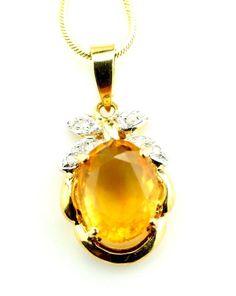 14k Yellow Gold 0.50ct Yellow Topaz Diamond Pendant with Chain Italy B15. #Pendant