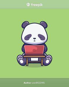 Cute panda with laptop cartoon illustrat... | Premium Vector #Freepik #vector